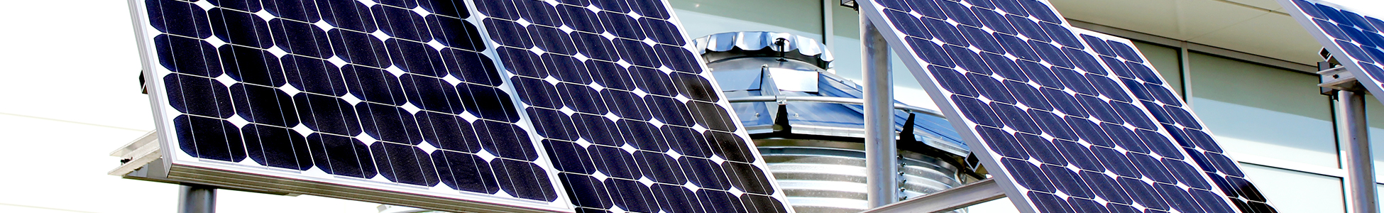Solar cell panels on top of a building
