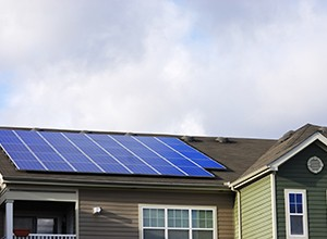 Solar panel installed on the roof of a house in the city of Boulder
