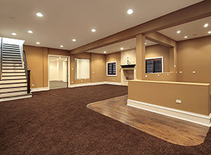 Brown open-space living room with recessed lighting