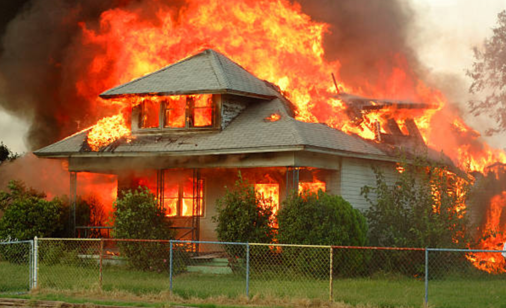 house burning in flames