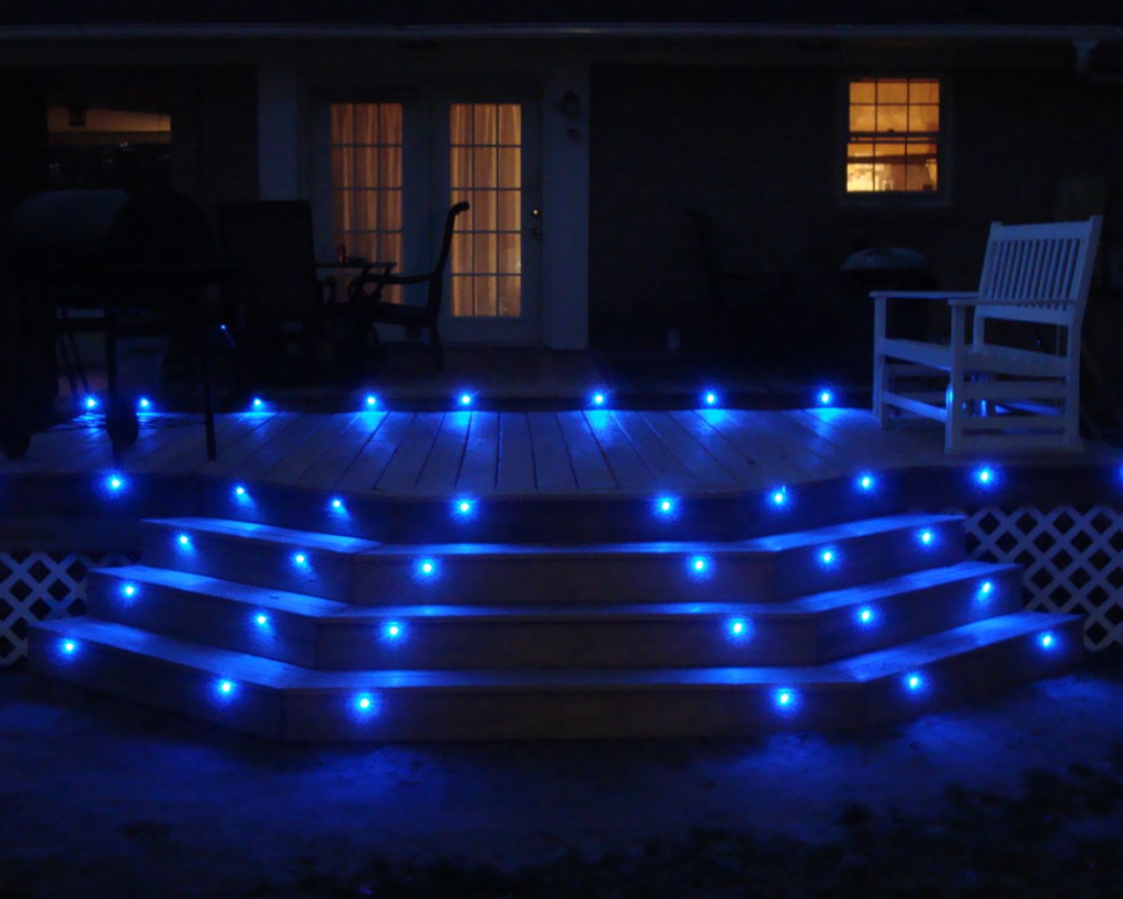 Outdoor stairs lit up with lights